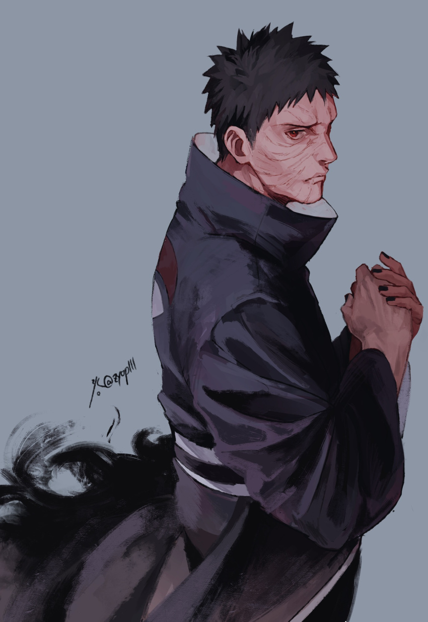 1boy black_hair black_nails closed_mouth hands_together high_collar highres long_sleeves looking_at_viewer male_focus naruto_(series) profile red_eyes scar scar_on_face sharingan short_hair simple_background uchiha_obito uchiha_symbol wide_sleeves zifletts