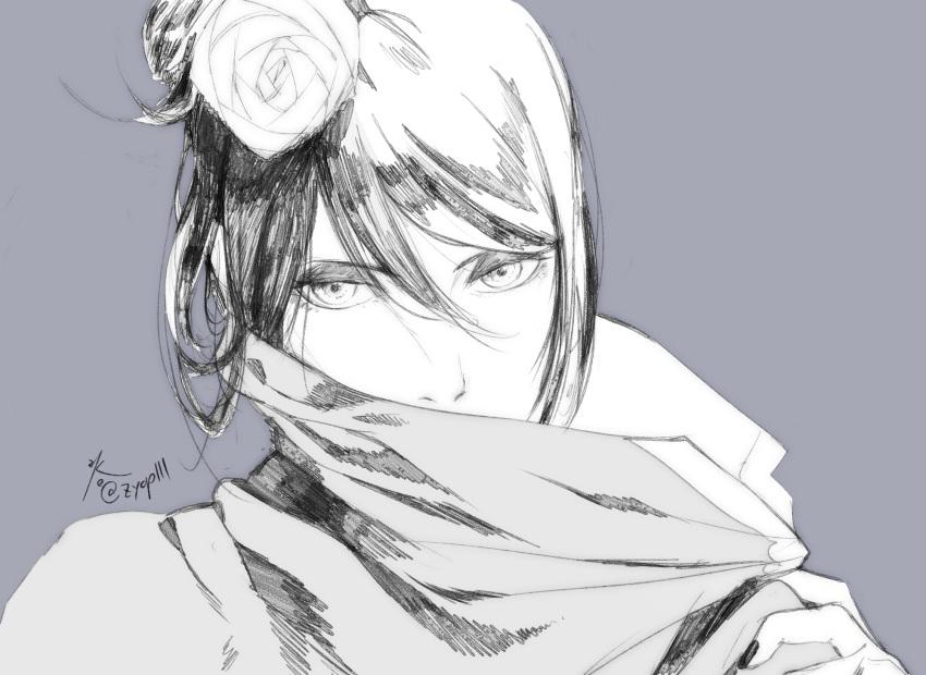 1girl akatsuki_(naruto) akatsuki_uniform bangs coat eyebrows eyelashes eyes eyeshadow face flower greyscale hair_flower hair_ornament highres konan_(naruto) makeup monochrome nail_polish naruto_(series) nose short_hair solo zifletts