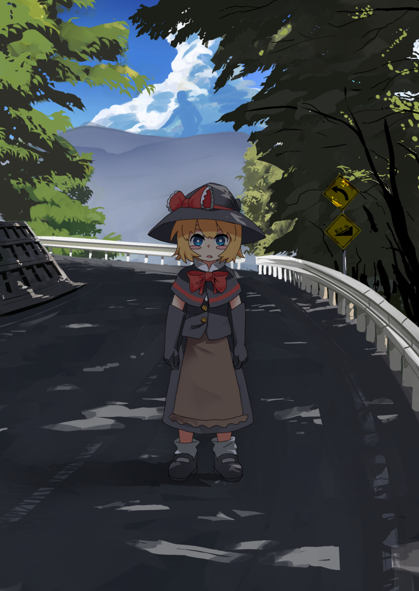 1girl arrow_(symbol) bangs black_capelet black_footwear black_gloves black_headwear black_skirt black_vest blonde_hair blue_eyes blush_stickers bow bowtie bright_pupils capelet commentary cookie_(touhou) day elbow_gloves full_body gloves hat hat_bow highres kirisame_marisa leftame long_skirt looking_at_viewer manatsu_no_yo_no_inmu meguru_(cookie) open_mouth outdoors railing red_bow red_neckwear road road_sign shirt shoes short_hair sign skirt socks solo standing touhou tree vest white_legwear white_pupils white_shirt witch_hat yajuu_senpai