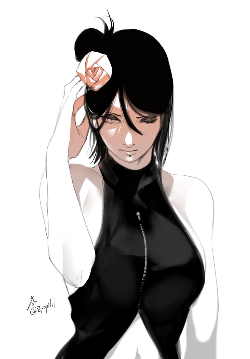 1girl arm_up bare_shoulders breasts closed_mouth eyeshadow flower hair_flower hair_ornament hand_in_hair highres konan_(naruto) labia_piercing large_breasts makeup midriff monochrome naruto_(series) one_eye_closed piercing short_hair sleeveless solo zifletts zipper_pull_tab