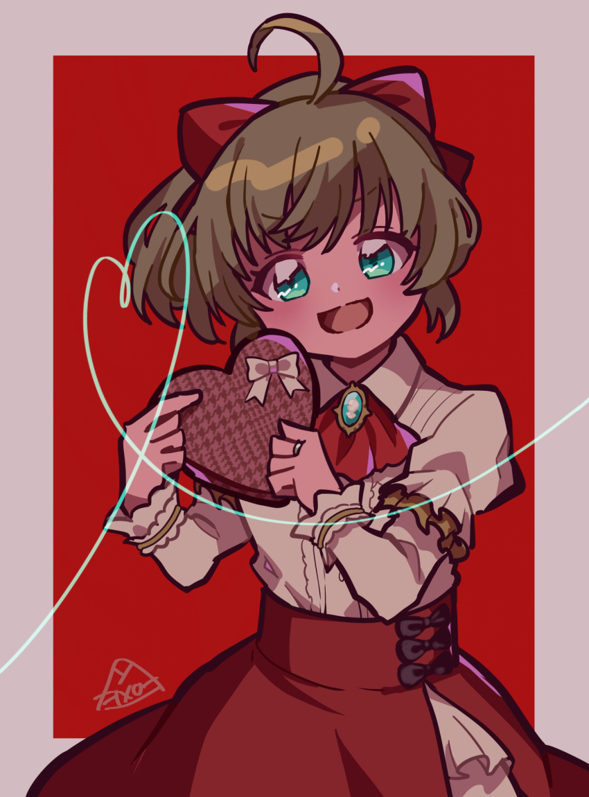 1girl anna_mel beige_ribbon black_ribbon border box box_of_chocolates brooch brown_hair buttons center_frills collared_shirt cravat dot_nose eyebrows_visible_through_hair frilled_skirt frilled_sleeves frills gem green_eyes grey_border hair_ribbon hands_up heart heart-shaped_box high-waist_skirt high_ponytail highres holding holding_box jewelry layered_skirt layered_sleeves long_sleeves looking_at_viewer magia_record:_mahou_shoujo_madoka_magica_gaiden mahou_shoujo_madoka_magica open_mouth ponytail red_background red_neckwear red_ribbon red_skirt ribbon ring shirt short_over_long_sleeves short_sleeves side_slit signature simple_background skirt smile solo takenoko_mgrc tsurime upper_body v-shaped_eyebrows white_shirt