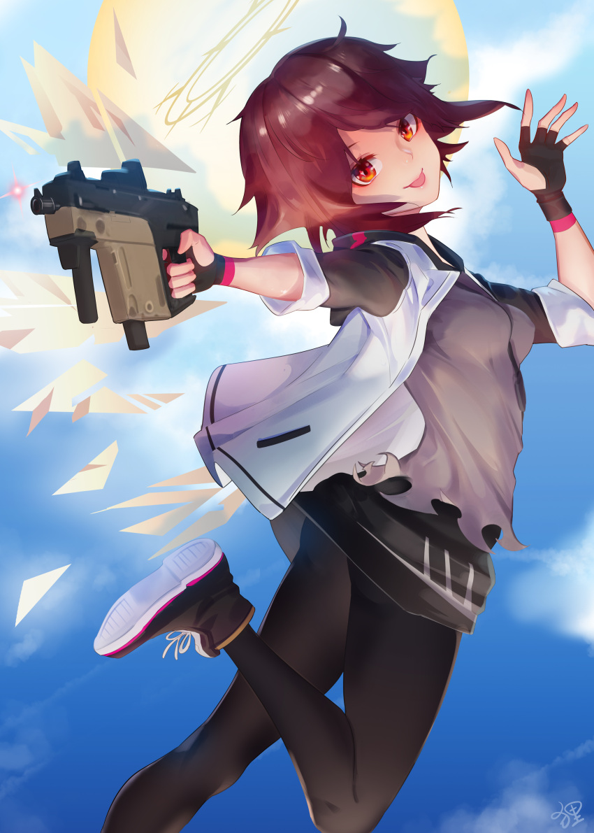 1girl :p absurdres aiming_at_viewer arknights bangs black_footwear black_gloves blue_sky chen3skuld clouds cloudy_sky exusiai_(arknights) fingerless_gloves gloves grey_shirt gun hair_between_eyes halo highres holding holding_gun holding_weapon jacket jumping kriss_vector leggings looking_at_viewer looking_back red_eyes redhead shirt shoes short_hair sky sleeves_past_elbows sneakers solo submachine_gun tongue tongue_out weapon white_jacket wings