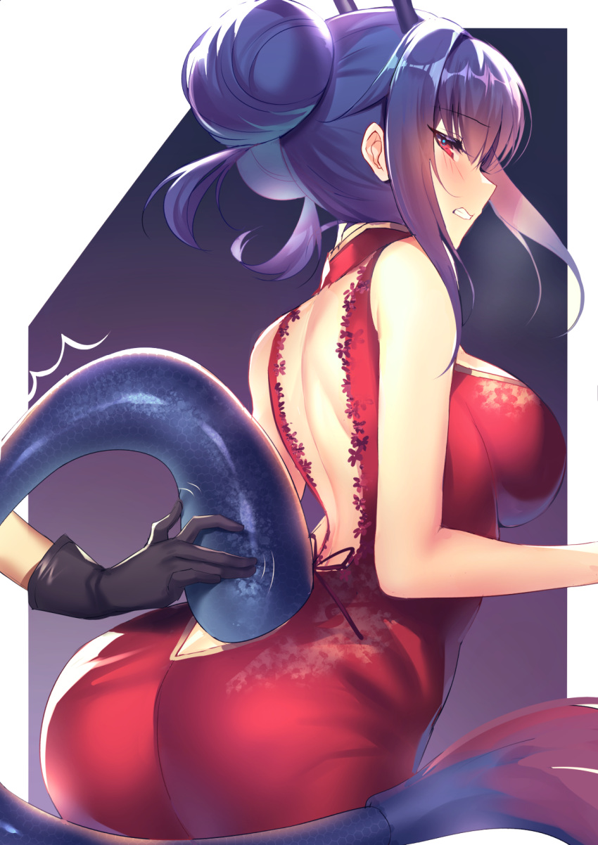 1girl arknights ass back_cutout bangs bare_arms bare_shoulders black_gloves blush breasts butt_crack ch'en_(ageless_afterglow)_(arknights) ch'en_(arknights) china_dress chinese_clothes clenched_teeth clothing_cutout commentary cowboy_shot double_bun dress eyebrows_visible_through_hair from_behind gloves hair_between_eyes highres horns hoshiguma_(arknights) kernel_killer large_breasts official_alternate_costume out_of_frame profile purple_background purple_hair red_dress red_eyes revision sidelocks sleeveless sleeveless_dress solo_focus tail teeth tsurime