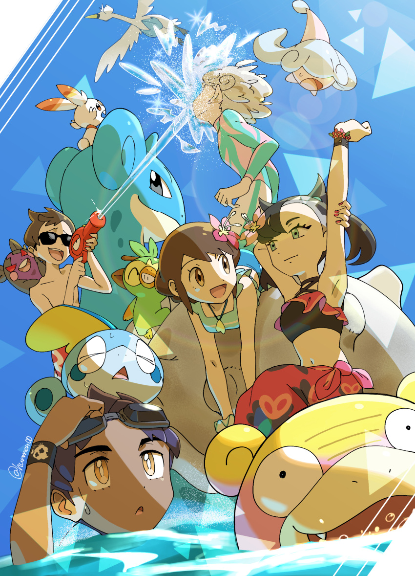 2girls 3boys :d absurdres arm_up bangs bede_(pokemon) blue_shirt bracelet bright_pupils brown_eyes brown_hair bubble choker closed_mouth commentary_request dark-skinned_male dark_skin day eyelashes flower galarian_form galarian_slowpoke gen_1_pokemon gen_5_pokemon gen_8_pokemon gloria_(pokemon) goggles goggles_on_head green_eyes grookey hair_flower hair_ornament hatenna highres holding holding_water_gun hop_(pokemon) hungry_seishin jewelry lapras lens_flare male_swimwear marnie_(pokemon) medium_hair morpeko morpeko_(hangry) multiple_boys multiple_girls nail_polish navel necklace official_alternate_costume on_head open_mouth outdoors pink_flower pokemon pokemon_(creature) pokemon_(game) pokemon_masters_ex pokemon_on_head pokemon_swsh purple_hair raised_eyebrows red_nails riding riding_pokemon sarong scorbunny shirt shirtless short_hair sleeveless sleeveless_shirt smile sobble sparkle starter_pokemon_trio sunglasses swanna swim_trunks swimming tongue twintails upper_teeth victor_(pokemon) water water_gun white_pupils wristband yellow_eyes