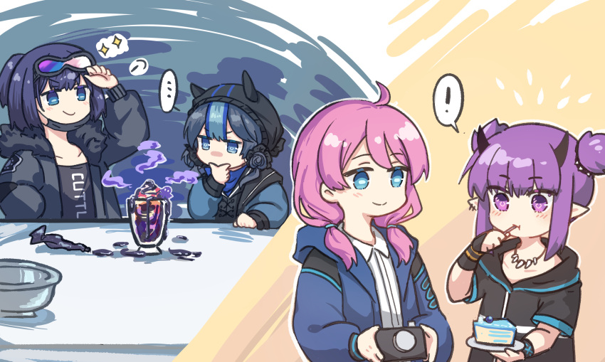 ! ... 4girls absurdres ahoge andreana_(arknights) animal_ears arknights bad_food black_gloves black_jacket black_shirt blue_eyes blue_hair blue_jacket blue_poison_(arknights) cake cake_slice camera chinese_commentary collarbone ear_piercing eating eyebrows_visible_through_hair fingerless_gloves flower food glaucus_(arknights) gloves goggles goggles_on_head hair_flower hair_ornament hand_in_pocket hand_up highres holding holding_camera hood hood_up ice_cream infection_monitor_(arknights) jacket lava_(arknights) mabing mask mask_pull medium_hair mouth_mask multicolored_hair multiple_girls open_clothes open_jacket pastry_bag piercing pink_hair plate pointy_ears ponytail purple_hair shirt short_hair short_twintails single_glove smile spoken_ellipsis spoken_exclamation_mark sundae thinking tooth_necklace twintails upper_body utensil_in_mouth v-shaped_eyebrows violet_eyes white_shirt