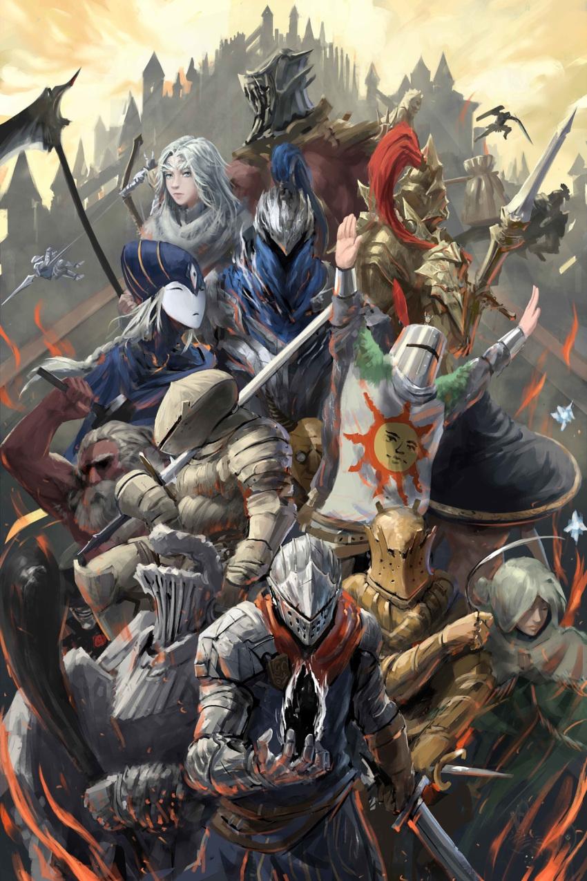 armor artist_request artorias_the_abysswalker bangs bearer_of_the_curse black_knight_(dark_souls) blue_eyes chosen_undead dark_souls_(series) dark_souls_i dark_sun_gwyndolin dragon_girl dragon_slayer_ornstein dress executioner_smough full_armor fur great_grey_wolf_sif green_eyes gwyn_lord_of_cinder helm helmet highres horns knight long_hair looking_at_viewer lord's_blade_ciaran monster_girl praise_the_sun priscilla_the_crossbreed siegmeyer_of_catarina slit_pupils smile solaire_of_astora weapon white_hair