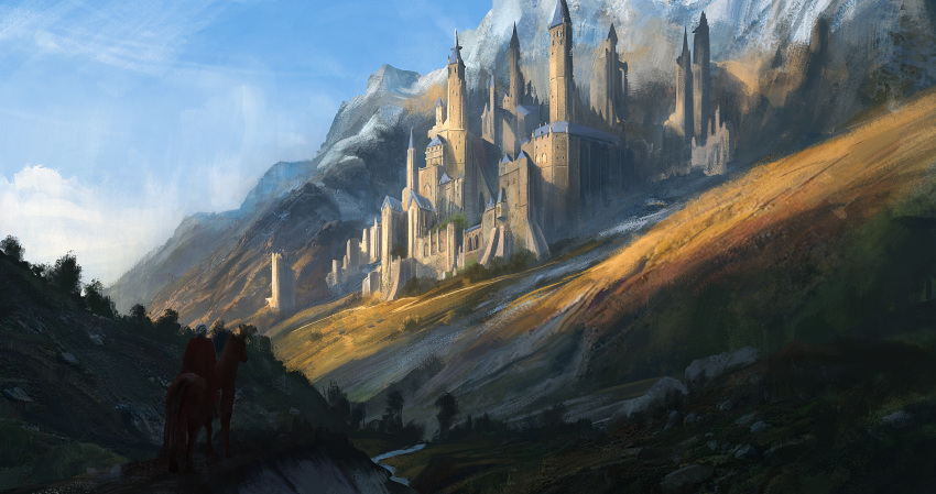 ambiguous_gender anoc cape castle clouds fantasy grass highres hill horse knight mountain original path river scenery shadow sky tree water