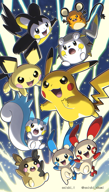 :d absurdres artist_name commentary_request dedenne emolga enishi_(menkura-rin10) gen_1_pokemon gen_2_pokemon gen_3_pokemon gen_4_pokemon gen_5_pokemon gen_6_pokemon gen_7_pokemon gen_8_pokemon highres minun morpeko morpeko_(full) no_humans open_mouth pachirisu pichu pikachu plusle pokemon pokemon_(creature) smile togedemaru tongue upper_teeth