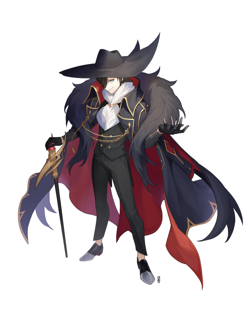 1boy absurdres alternate_costume bangs black_footwear black_gloves black_hair black_headwear black_pants black_vest buttons cane closed_mouth coat coat_on_shoulders commentary_request fur_scarf gloves grey_eyes grey_shirt grimsley_(pokemon) hat highres holding holding_cane korean_commentary long_sleeves male_focus mongguri pants pokemon pokemon_(game) pokemon_bw scarf shirt shoes simple_background smile solo standing vest white_background white_scarf