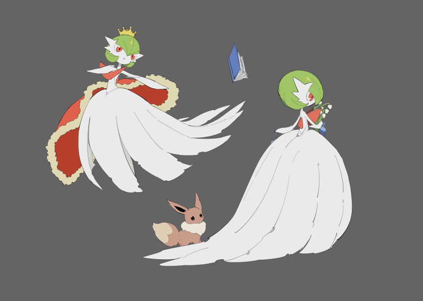 1girl apios1 arm_up bangs bare_shoulders black_eyes blank_eyes blue_ribbon bob_cut book cape closed_mouth clothed_pokemon commentary crown dress eevee elbow_gloves flat_chest flower from_behind full_body fur-trimmed_cape fur_trim gardevoir gen_1_pokemon gen_3_pokemon gloves green_hair grey_background hair_between_eyes hand_up highres holding holding_flower lily_of_the_valley looking_at_another looking_to_the_side looking_up mega_gardevoir mega_pokemon multiple_views open_mouth outstretched_arm pawpads pokemon pokemon_(creature) red_cape red_eyes ribbon short_hair simple_background sketch standing strapless strapless_dress striped striped_ribbon white_dress white_flower white_gloves yellow_headwear