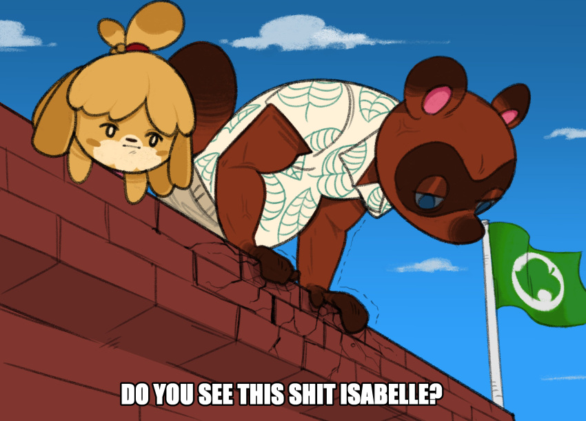 1boy 1girl :| absurdres anger_vein animal_crossing animal_ears animal_nose blonde_hair blue_background blue_eyes blue_sky blush_stickers body_fur brick_wall brown_fur closed_mouth clouds collared_shirt commentary day do_you_see_this_shit?_(meme) dog_ears dog_girl english_commentary english_text flag furry hair_ornament highres inqwire_ch isabelle_(animal_crossing) leaning_forward looking_down meme outdoors parody print_shirt profanity raccoon_ears raccoon_tail shirt short_sleeves sky tail talking tied_hair tom_nook_(animal_crossing) topknot yellow_fur