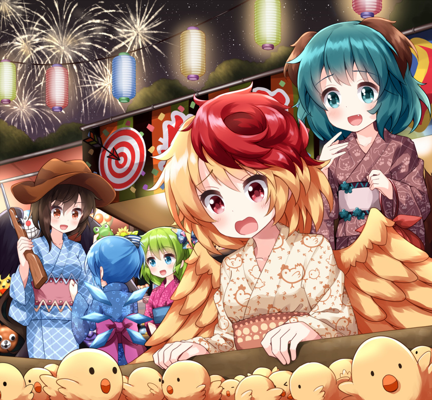 5girls animal_ears animal_print bangs belt bird bird_print blonde_hair blue_belt blue_bow blue_dress blue_eyes blue_kimono blue_sleeves bow box breasts brown_dress brown_eyes brown_hair brown_headwear brown_kimono brown_sleeves cat chick cirno commentary_request cowboy_hat daiyousei dog_ears dog_print dog_tail dress duplicate eyebrows_visible_through_hair festival fireworks green_eyes green_hair gun hair_between_eyes hair_bow hands_up hat highres japanese_clothes kasodani_kyouko kimono kurokoma_saki long_hair long_sleeves looking_at_another looking_to_the_side mask medium_breasts multicolored multicolored_bow multicolored_hair multiple_girls night night_sky niwatari_kutaka one_side_up open_mouth orange_belt paw_print pink_belt pink_bow pink_dress pink_kimono pink_sleeves pixel-perfect_duplicate ponytail red_eyes redhead ruu_(tksymkw) short_hair short_ponytail sky smile star_(sky) starry_sky striped striped_bow tail too_many too_many_chicks touhou tree weapon white_belt white_bow wide_sleeves wings yellow_bow yellow_dress yellow_kimono yellow_sleeves