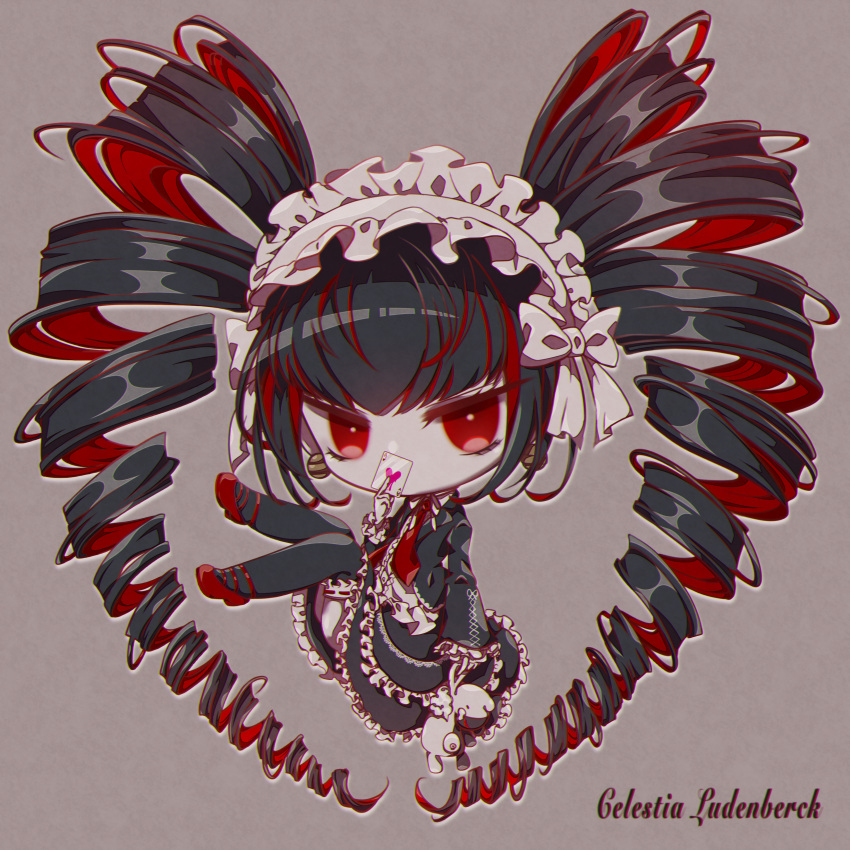 1girl absurdres bangs black_hair black_legwear black_skirt bonnet card celestia_ludenberg character_name chibi commentary_request covered_mouth dangan_ronpa:_trigger_happy_havoc dangan_ronpa_(series) drill_hair frilled_skirt frilled_sleeves frills full_body gothic_lolita grey_background highres holding knees_up layered_skirt lolita_fashion long_hair looking_at_viewer nakanakaji necktie playing_card red_eyes red_footwear ribbon shiny shiny_hair shoes simple_background skirt solo stuffed_toy twin_drills twintails