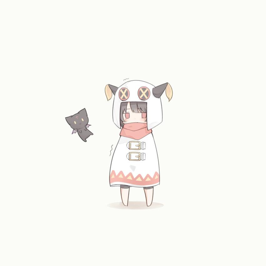 1girl alternate_costume bangs bat_wings bike_shorts black_cat blush brown_hair button_eyes cape cat chibi chomusuke commentary flying full_body hagi_neco highres hood hood_up jitome kono_subarashii_sekai_ni_shukufuku_wo! looking_away megumin red_eyes red_scarf scarf shadow simple_background solo solo_focus standing trembling white_background white_cape wings winter_clothes