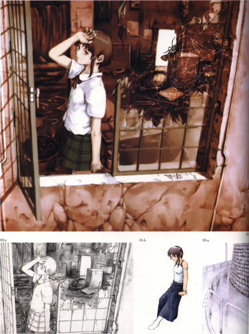 abe_yoshitoshi absurdres artbook broken broken_glass brown_eyes brown_hair butterfly eating glass hand_on_head highres iwakura_lain looking_back monochrome official_art plaid plaid_skirt ruins scan serial_experiments_lain short_hair sketch skirt spider spider_web traditional_media window yoshitoshi_abe