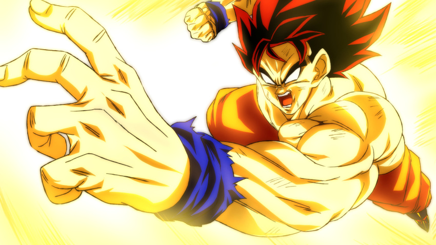 1boy aura blank_eyes clenched_hand dragon_ball dragon_ball_z flying male_focus muscular muscular_male open_mouth orange_pants pants rom_(20) shirtless solo son_goku spiky_hair super_saiyan
