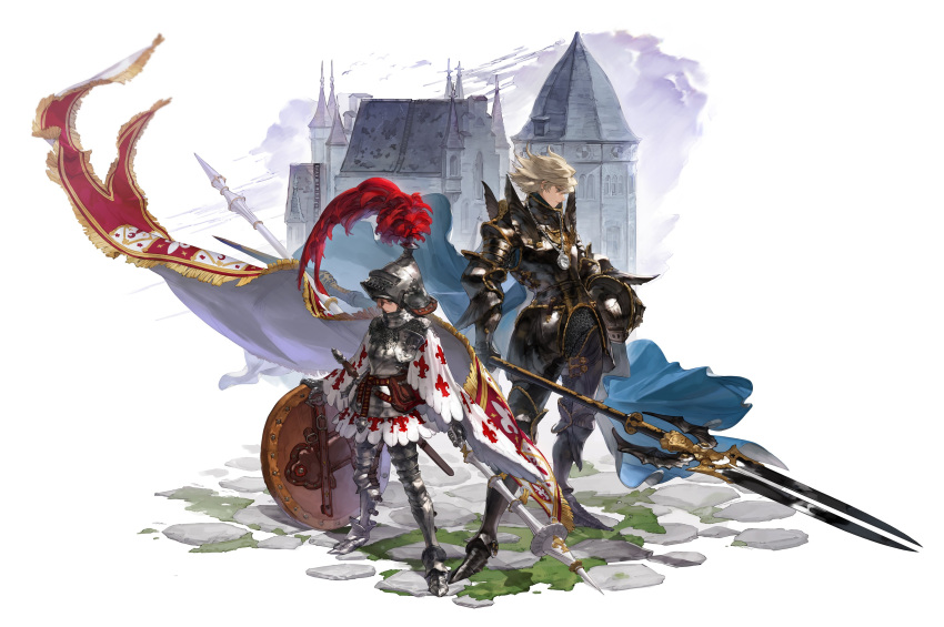 1boy 1girl absurdres armor armored_boots banner blonde_hair blue_eyes boots breastplate brother_and_sister brown_hair capelet castle chainmail faulds fleur_de_lis full_body gauntlets green_eyes headwear_removed height_difference helmet helmet_removed highres holding holding_helmet holding_polearm holding_shield holding_spear holding_weapon jewelry knight korean_commentary lance medallion necklace original plate_armor plume polearm shield shoulder_armor siblings spear srasa standing weapon white_background