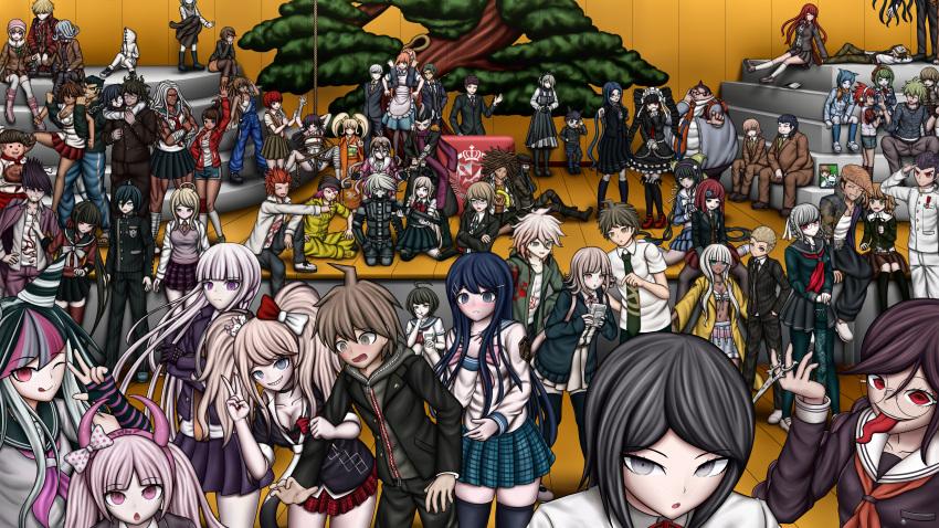 6+boys 6+girls absurdres akamatsu_kaede asahina_aoi ayakashi_yomogi black_hair blue_hair bonsai brown_hair celestia_ludenberg chabashira_tenko daimon_masaru_(danganronpa) danganronpa/zero danganronpa:_trigger_happy_havoc danganronpa_(series) danganronpa_2:_goodbye_despair danganronpa_3_(anime) danganronpa_another_episode:_ultra_despair_girls danganronpa_v3:_killing_harmony enoshima_junko everyone fujisaki_chihiro fukawa_touko gokuhara_gonta green_hair gym hagakure_yasuhiro hanamura_teruteru highres hinata_hajime hood hoodie hope's_peak_academy_school_uniform hoshi_ryouma ikusaba_mukuro indoors iruma_miu ishimaru_kiyotaka keebo kemuri_jatarou kirigiri_kyouko koizumi_mahiru komaeda_nagito kuwata_leon kuzuryuu_fuyuhiko maizono_sayaka mioda_ibuki momota_kaito multicolored_hair multiple_boys multiple_girls naegi_komaru naegi_makoto nanami_chiaki nidai_nekomaru oogami_sakura oowada_mondo ouma_kokichi owari_akane pekoyama_peko pink_hair redhead rope saihara_shuuichi school_uniform shingetsu_nagisa shirogane_tsumugi smile sonia_nevermind souda_kazuichi surprised togami_byakuya toujou_kirumi towa_monaka trapped tsumiki_mikan twintails two-tone_hair ultimate_imposter utsugi_kotoko v white_hair yamada_hifumi yonaga_angie yumeno_himiko