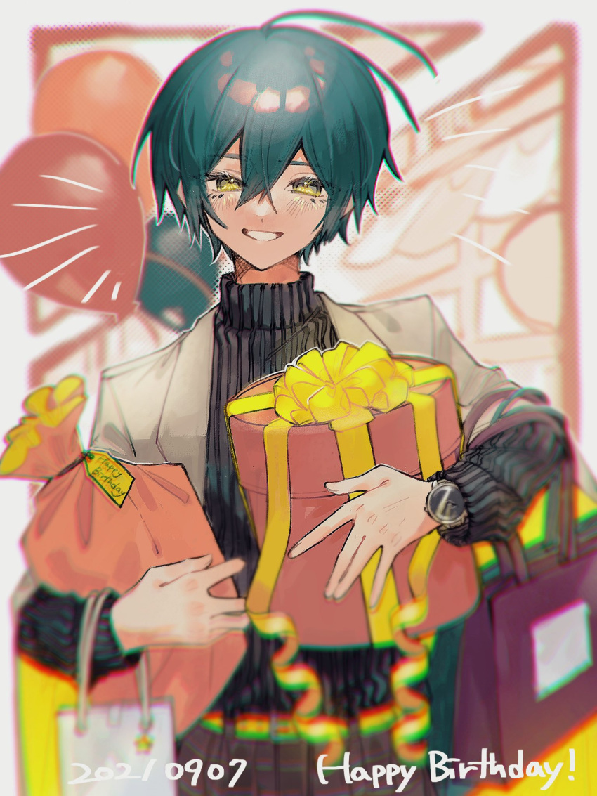 1boy alternate_costume alternate_hair_color bag balloon bangs black_hair blush box brown_eyes brown_jacket commentary_request danganronpa_(series) danganronpa_v3:_killing_harmony dated eyelashes gift gift_box green_hair grin hair_between_eyes happy_birthday highres holding holding_gift jacket jacket_on_shoulders long_sleeves looking_at_viewer male_focus outline saihara_shuuichi shiny shiny_hair short_hair smile striped striped_sweater sweater teeth white_outline ze_ro_saiji