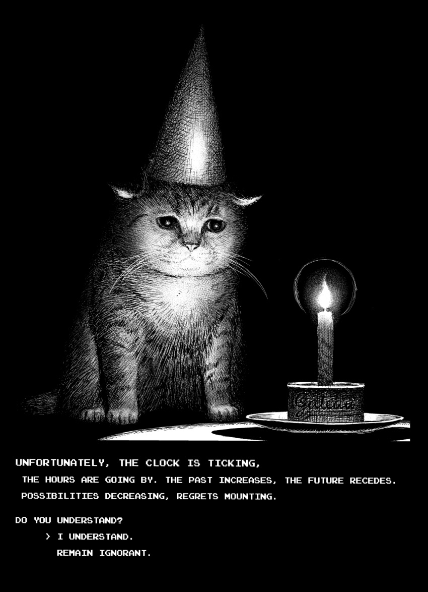 animal_focus arrow_(symbol) candle cat commentary dialogue_options english_commentary fire flame greyscale hat highres monochrome no_humans original party_hat plate sad simple_background white_background y_naf