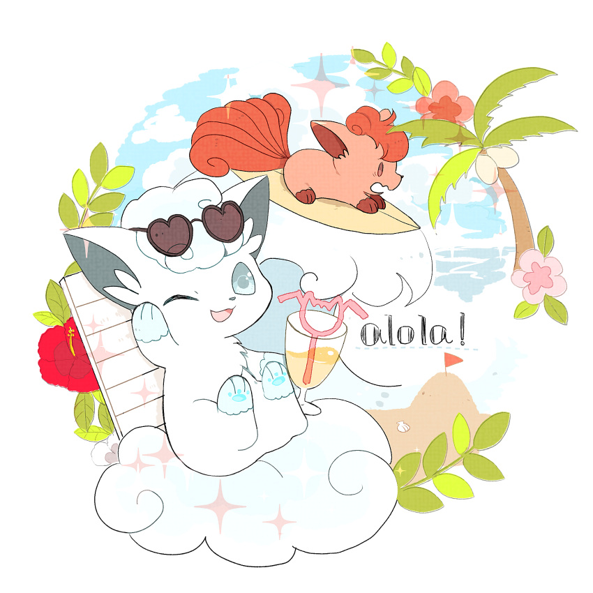 ;d alolan_form alolan_vulpix brown_eyes clouds commentary_request day drinking_straw flag flower gen_1_pokemon gen_7_pokemon glass heart heart-shaped_eyewear highres liquid nao_(naaa_195) no_humans one_eye_closed open_mouth outdoors palm_tree pokemon pokemon_(creature) red_flower sky smile sparkle sunglasses surfboard surfing tongue tree vulpix waving