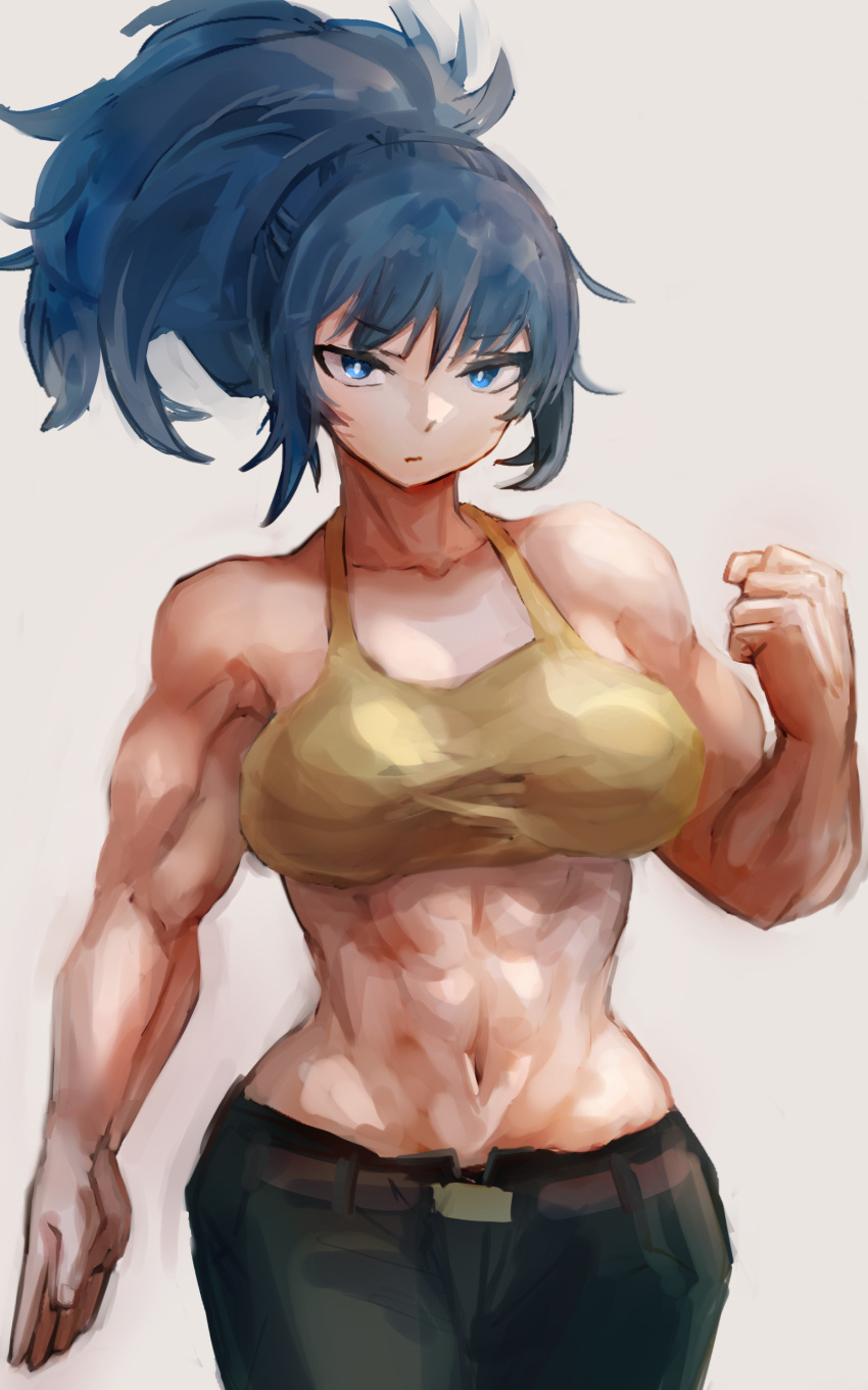 1girl abs absurdres bangs bare_arms biceps blue_eyes blue_hair breasts camouflage camouflage_pants hatano_kiyoshi highres large_breasts leona_heidern looking_at_viewer muscular muscular_female pants shoulders snk solo standing tank_top the_king_of_fighters the_king_of_fighters_xv yellow_tank_top