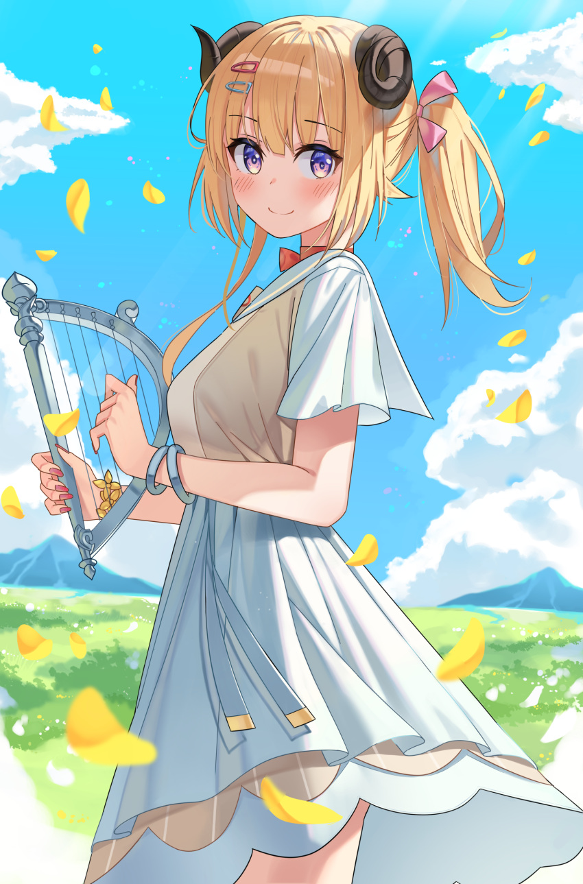 1girl absurdres animal_ears blonde_hair blush bracelet breasts choker closed_mouth cowboy_shot dress eyebrows_visible_through_hair fingernails flower_bracelet from_side hair_ornament hairclip harp highres holding holding_instrument hololive horns instrument jewelry large_breasts looking_at_viewer looking_to_the_side medium_hair music niji_(rudduf232) overskirt playing_instrument red_choker red_nails ribbon_choker sailor_collar sailor_dress sheep_ears sheep_girl sheep_horns short_dress short_sleeves side_ponytail skirt smile solo tsunomaki_watame violet_eyes virtual_youtuber white_dress white_skirt