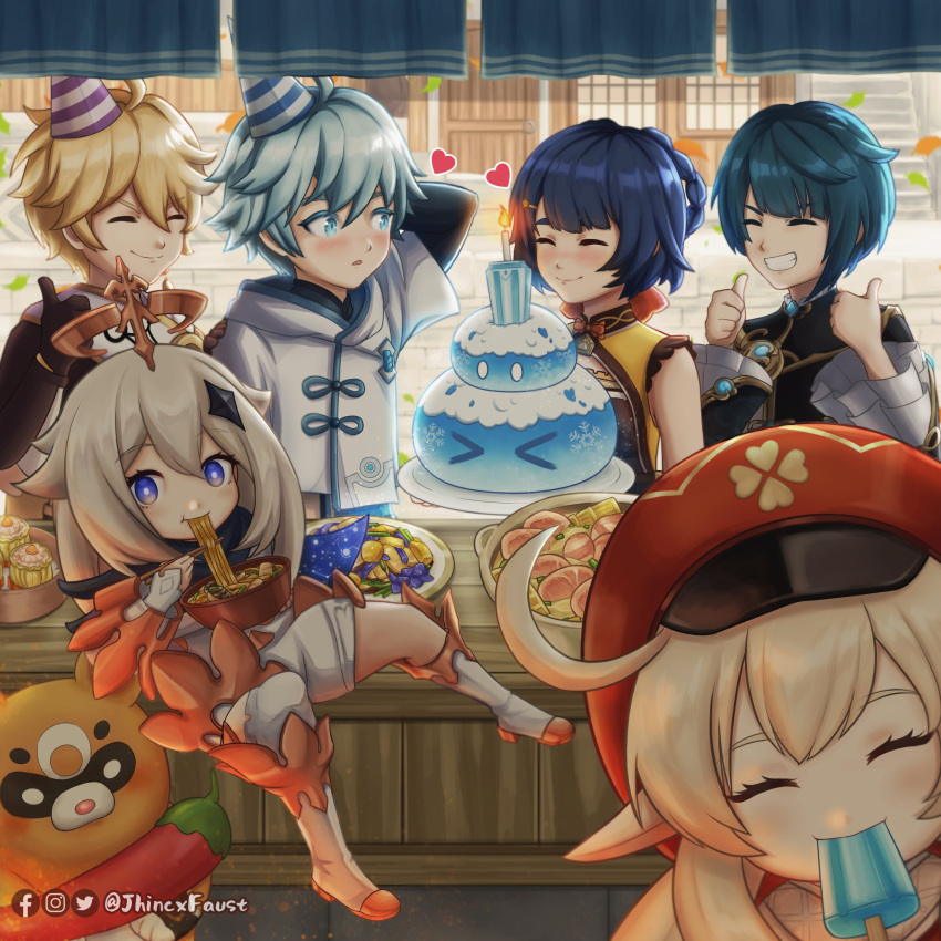 3boys 3girls :d ^_^ ^o^ aether_(genshin_impact) ahoge aqua_eyes aqua_hair architecture arm_behind_head bangs birthday_cake birthday_party black_hair black_scarf blurry bowl braid brown_scarf building cabbie_hat cake candle chili_pepper chinese_clothes chongyun_(genshin_impact) chopsticks closed_eyes clover_print commentary depth_of_field double_thumbs_up dress east_asian_architecture eating english_commentary eyebrows_visible_through_hair fire floating food genshin_impact grin guoba_(genshin_impact) hair_between_eyes hair_ornament hairclip hat heart highres holding holding_bowl holding_chopsticks holding_food jhincx_faust klee_(genshin_impact) light_brown_hair long_hair long_sleeves low_twintails mechanical_halo multiple_boys multiple_girls noodles open_mouth paimon_(genshin_impact) parted_lips party_hat pointy_ears popsicle ramen red_headwear red_panda scarf short_hair sidelocks slime_(genshin_impact) smile thumbs_up twin_braids twintails twitter_username violet_eyes white_dress white_hair white_scarf window xiangling_(genshin_impact) xingqiu_(genshin_impact)