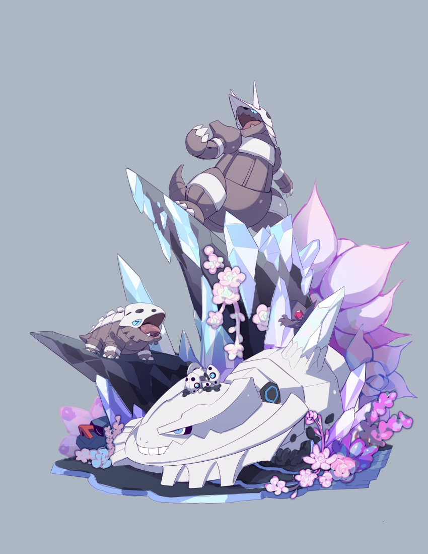 >_< aggron aron blue_eyes claws commentary_request crystal evolutionary_line fang flower gen_2_pokemon gen_3_pokemon grey_background highres lairon lanjiujiu looking_up mega_pokemon mega_steelix no_humans nosepass on_head open_mouth pink_flower pokemon pokemon_(creature) pokemon_on_head sableye standing steelix teeth tongue