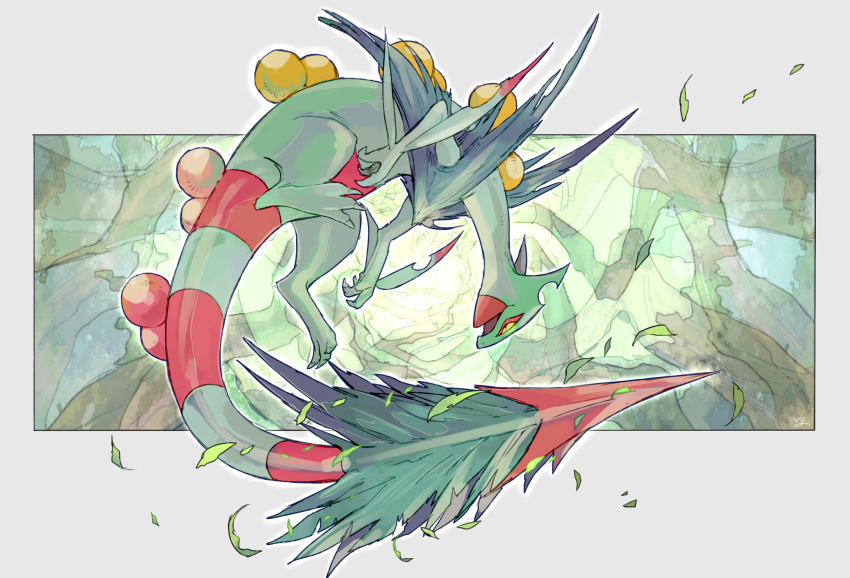 absurdres claws commentary_request full_body gen_3_pokemon highres leaves_in_wind mega_pokemon mega_sceptile ngr_(nnn204204) no_humans open_mouth pokemon pokemon_(creature) sceptile signature toes yellow_eyes