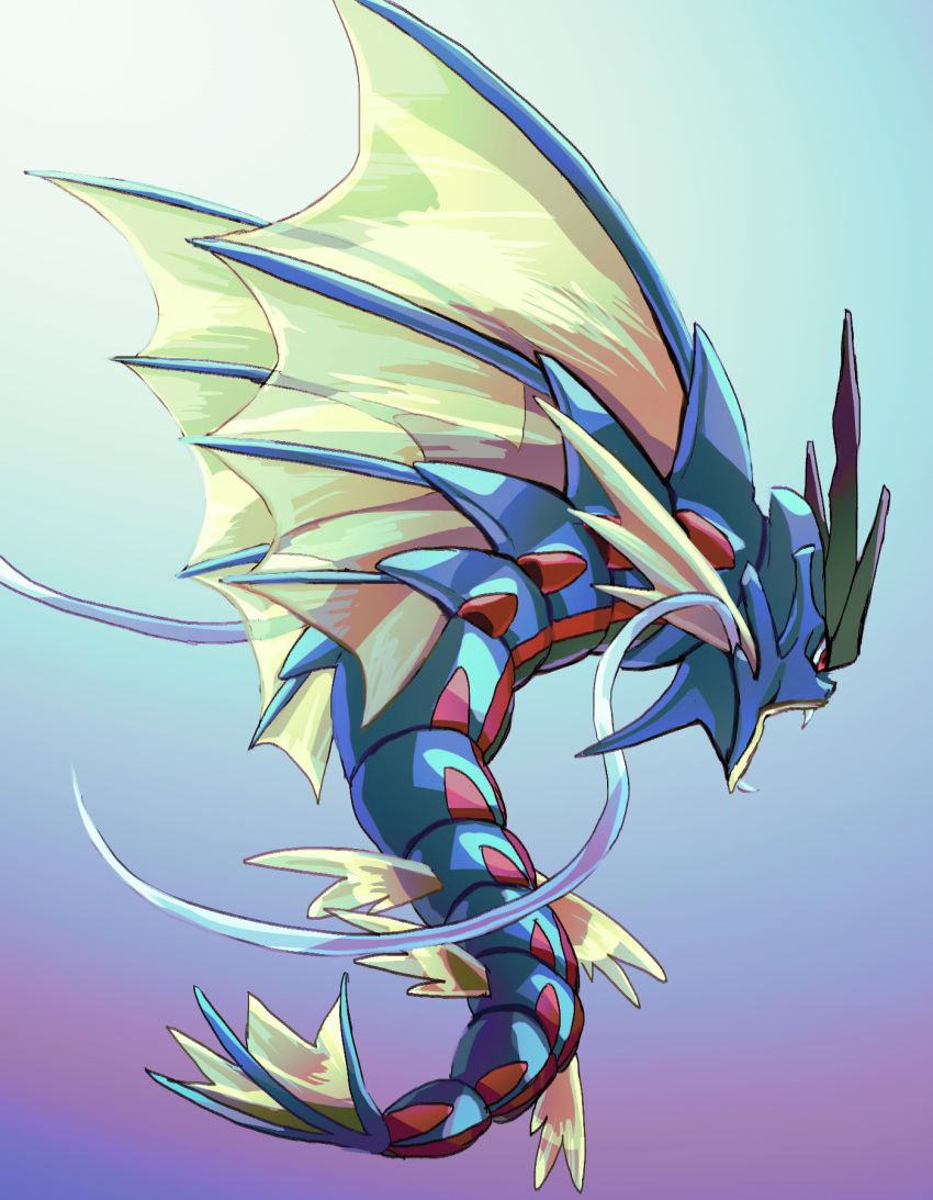 commentary_request fangs fins from_side fusenryo gen_1_pokemon gyarados highres looking_down mega_gyarados mega_pokemon no_humans open_mouth pokemon pokemon_(creature) red_eyes solo