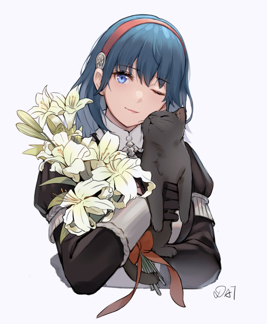 1girl ;) absurdres bangs black_cat black_jacket blue_eyes blue_hair bouquet byleth_(fire_emblem) byleth_eisner_(female) cat da-cart eyebrows_visible_through_hair fire_emblem fire_emblem:_three_houses flower garreg_mach_monastery_uniform grey_background hairband head_tilt highres holding holding_flower jacket juliet_sleeves long_hair long_sleeves looking_at_viewer one_eye_closed puffy_sleeves red_hairband simple_background smile solo upper_body white_flower
