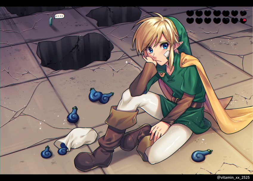 1boy bandages belt blonde_hair blue_eyes boots brown_footwear cape cracked_floor green_headwear heart_container highres hole link looking_at_viewer pointy_ears pouch rupee seed sidelocks sitting solo tatsuuma_daisuke the_legend_of_zelda the_legend_of_zelda:_oracle_of_seasons tunic twitter_username white_legwear yellow_cape