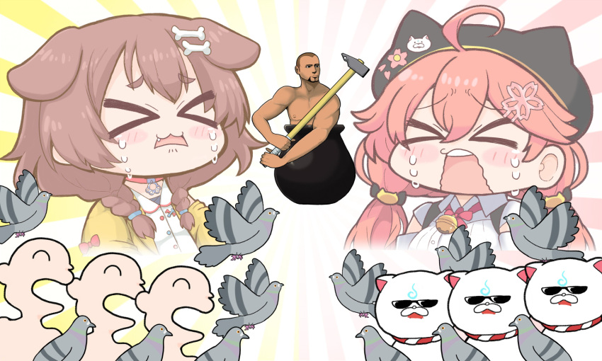 >_< 1boy 2girls 35p_(sakura_miko) 6+others ahoge animal_collar animal_ears animal_hat bell bird bone_hair_ornament braid breasts brown_hair buzz_cut cat_hat collar crying diogenes_(getting_over_it) dog_ears dog_girl facial_hair getting_over_it goatee hair_ornament hairclip hammer hat highres hololive in_cauldron inugami_korone jingle_bell large_breasts listener_(inugami_korone) low_twintails matarou_(matarou072) multiple_girls multiple_others muscular muscular_male pigeon pink_hair pot sakura_miko short_hair sledgehammer tears twin_braids twintails very_short_hair