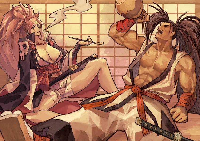 absurdres amputee armor baiken big_hair black_jacket black_kimono breasts eyepatch facial_tattoo greaves guilty_gear haoumaru highres jacket jacket_on_shoulders japanese_clothes kataginu katana kimono large_breasts multicolored multicolored_clothes multicolored_kimono one-eyed pink_hair ponytail red_eyes samurai samurai_spirits sandals sash scar snk subakeye sword tattoo weapon white_kimono