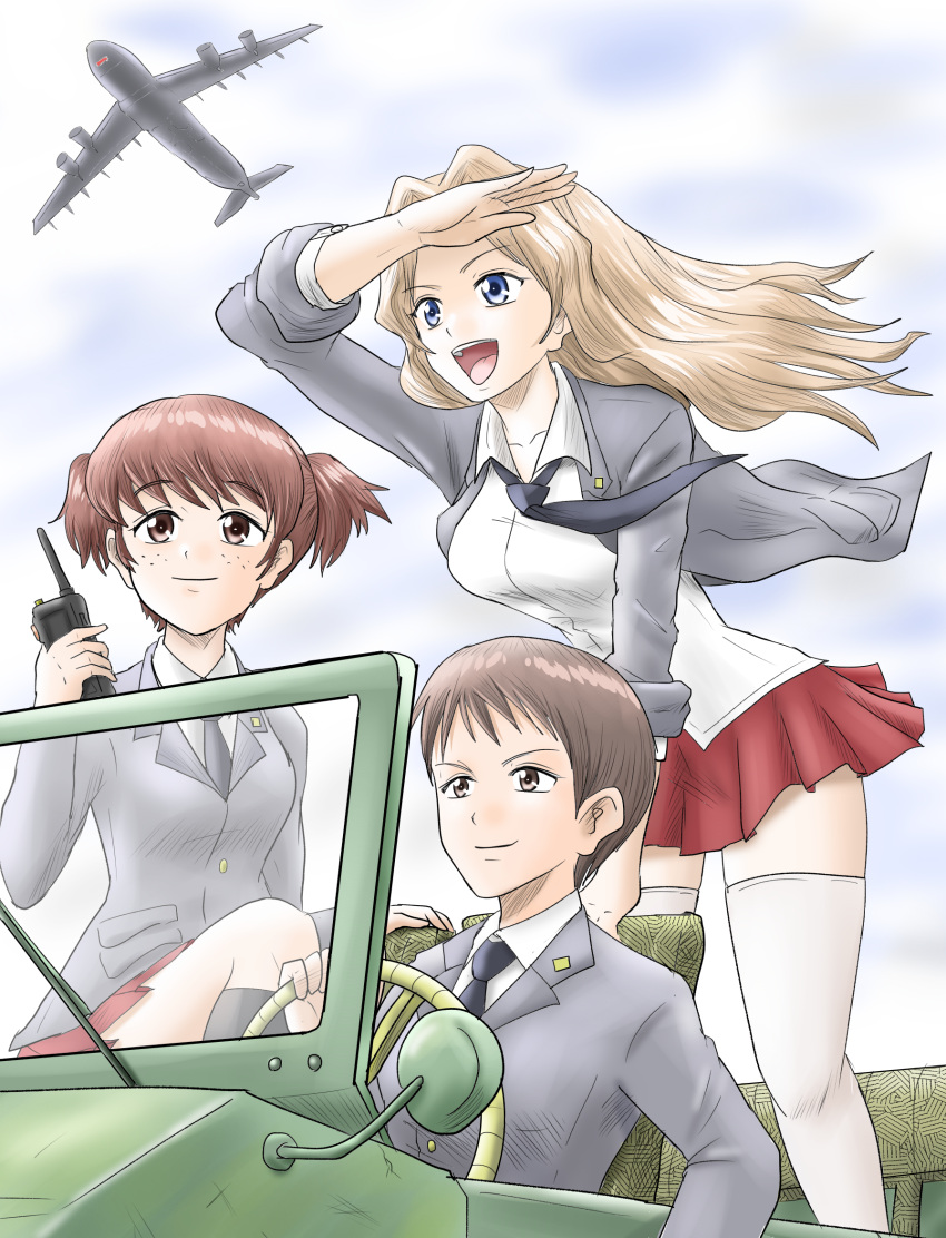 3girls :d aircraft airplane alisa_(girls_und_panzer) arm_support bangs black_legwear black_neckwear blazer blonde_hair blouse blue_eyes blue_sky brown_eyes brown_hair c-5m_super_galaxy closed_mouth clouds cloudy_sky collared_blouse commentary day dress_shirt driving freckles girls_und_panzer grey_jacket ground_vehicle hair_intakes hair_ornament harukai-i highres holding jacket jeep kay_(girls_und_panzer) leaning_forward long_hair long_sleeves military military_vehicle miniskirt motor_vehicle multiple_girls naomi_(girls_und_panzer) necktie open_clothes open_jacket open_mouth outdoors pleated_skirt radio_antenna red_skirt saunders_school_uniform school_uniform shading_eyes shirt short_hair short_twintails sitting skirt sky sleeves_rolled_up smile socks standing star_(symbol) star_hair_ornament thigh-highs twintails very_short_hair white_blouse white_legwear white_shirt wind wing_collar