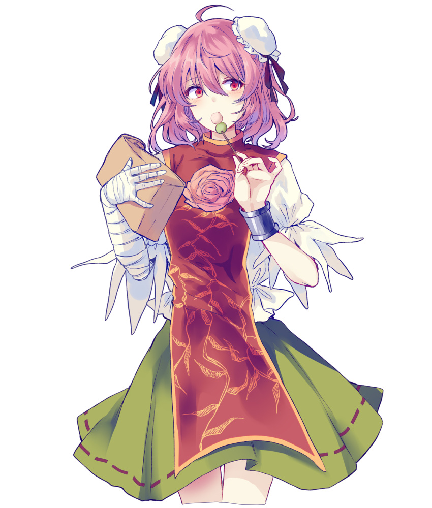 1girl bandages bangs breasts brown_ribbon closed_mouth dango double_bun eating eyebrows_visible_through_hair flower food green_skirt hair_between_eyes hands_up highres ibaraki_kasen leaf looking_to_the_side medium_breasts package pink_flower pink_hair puffy_short_sleeves puffy_sleeves red_eyes red_vest ribbon shirt short_hair short_sleeves simple_background skirt solo standing tabard touhou uranaishi_(miraura) vest wagashi white_background white_shirt white_sleeves