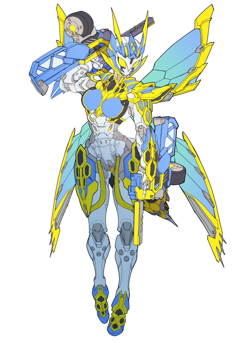 1girl absurdres antennae armor breasts catball1994 commentary_request drum_magazine dual_wielding gun helmet highres holding holding_gun holding_weapon kamen_rider kamen_rider_01_(series) kamen_rider_valkyrie lightning_hornet looking_at_viewer magazine_(weapon) solo tokusatsu weapon white_background wings