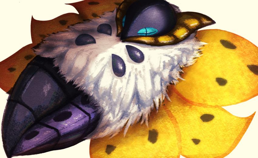 alternate_color blue_eyes bug commentary_request ewokakukaede highres lying moth no_humans on_back pokemon pokemon_(creature) shiny_pokemon simple_background solo volcarona white_background white_fur