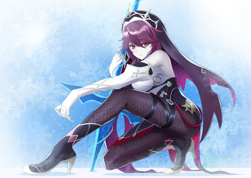 1girl bangs bent_over claws colored_skin commentary_request detached_sleeves elbow_gloves eyebrows_visible_through_hair fishnet_legwear fishnets genshin_impact gloves habit hair_between_eyes high_heels highres holding holding_polearm holding_spear holding_weapon ice kneeling looking_at_viewer mon-chan multicolored_hair nun polearm purple_hair red_eyes rosaria_(genshin_impact) short_hair sidelocks solo spear streaked_hair two-tone_hair weapon white_gloves white_skin