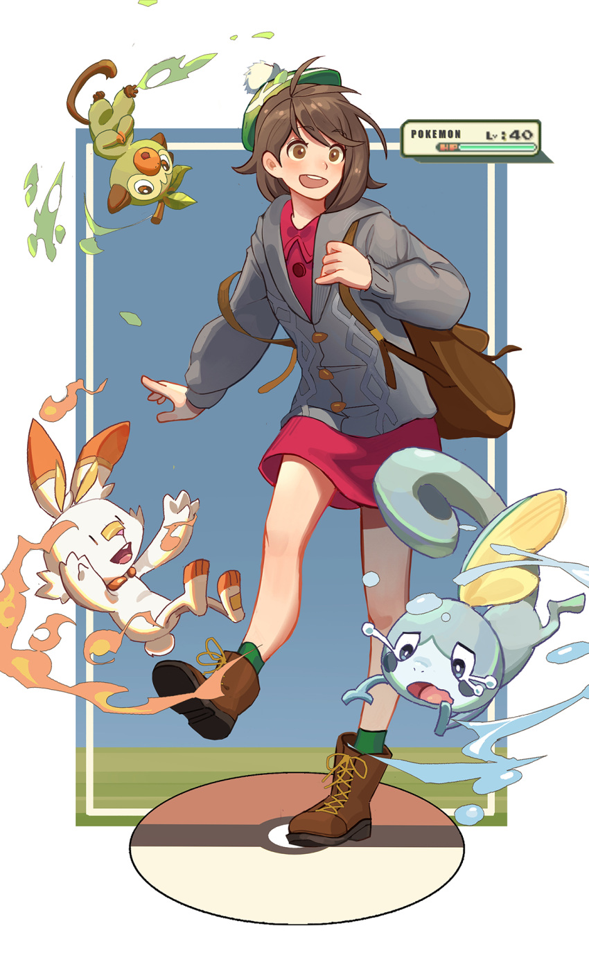 1girl backpack bag blush boots brown_bag brown_eyes brown_footwear brown_hair buttons cable_knit cardigan collared_dress commentary dress fire gloria_(pokemon) green_headwear green_legwear grey_cardigan grookey hat health_bar highres holding_strap hooded_cardigan knees leaves_in_wind leg_up llxhh open_mouth pink_dress pokemon pokemon_(creature) pokemon_(game) pokemon_swsh scorbunny sobble socks standing standing_on_one_leg tam_o'_shanter upper_teeth water