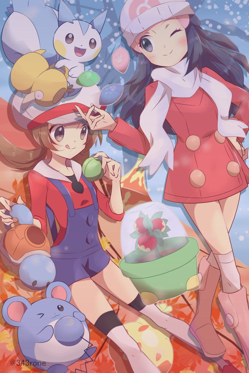 2girls 343rone :q absurdres beanie black_hair blue_overalls blush boots brown_eyes brown_hair cabbie_hat closed_mouth coat commentary_request dawn_(pokemon) eyelashes hair_ornament hairclip hand_on_hip hand_up hat highres holding long_hair long_sleeves lyra_(pokemon) marill multiple_girls one_eye_closed over-kneehighs pachirisu pink_footwear pokemon pokemon_(creature) pokemon_(game) pokemon_dppt pokemon_hgss pokemon_platinum psyduck red_coat red_footwear red_shirt scarf shirt shoes smile squirtle themed_object thigh-highs tongue tongue_out twintails watering_can white_headwear white_legwear white_scarf