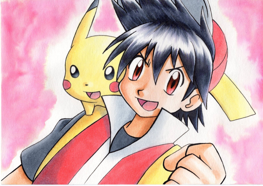 1boy :d bangs baseball_cap black_hair black_shirt clenched_hand commentary_request hair_between_eyes hand_up hat highres jacket looking_at_viewer male_focus oka_mochi on_shoulder open_mouth pika_(pokemon) pikachu pink_background pokemon pokemon_(creature) pokemon_adventures pokemon_on_shoulder popped_collar red_(pokemon) red_eyes red_headwear red_jacket shirt short_hair sleeveless sleeveless_jacket smile spiky_hair t-shirt tongue traditional_media