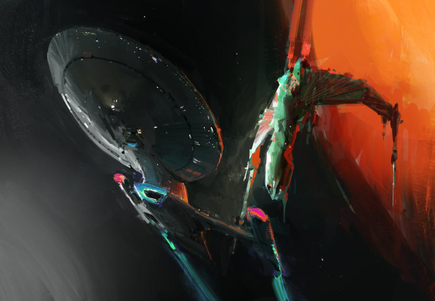 english_commentary flying from_below highres john_liberto k'vort_class light no_humans planet science_fiction sketch space space_craft star_(sky) star_trek vehicle_focus