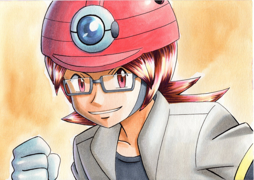 1boy black_shirt brown_hair clenched_hand collarbone commentary_request glasses grey-framed_eyewear grey_jacket hand_up helmet highres jacket long_hair looking_at_viewer male_focus oka_mochi open_clothes open_jacket parted_lips pink_headwear pokemon pokemon_(game) pokemon_dppt red_eyes roark_(pokemon) semi-rimless_eyewear shirt smile solo traditional_media upper_body yellow_background