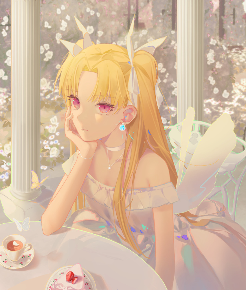 1girl alternate_costume bangs bare_shoulders blonde_hair bow bug butterfly cake cake_slice chair choker closed_mouth cup day dress earrings ereshkigal_(fate) expressionless eyebrows_visible_through_hair fate/grand_order fate_(series) food fruit hair_bow hand_on_own_cheek hand_on_own_face highres jewelry long_hair looking_at_viewer necklace off-shoulder_dress off_shoulder outdoors parted_bangs petals pillar pink_eyes plate saucer sitting solo strawberry table tea teacup tr_(hareru) very_long_hair white_bow white_choker white_dress