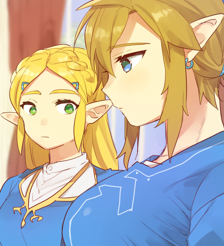 2girls bangs blonde_hair blue_eyes blue_shirt blurry blurry_background blush braid breast_envy breasts earrings from_side genderswap genderswap_(mtf) green_eyes hair_ornament hairclip jewelry large_breasts link long_hair looking_at_another meme multiple_girls pointy_ears princess_zelda profile shiny shiny_hair shirt the_legend_of_zelda the_legend_of_zelda:_breath_of_the_wild ttanuu. upper_body