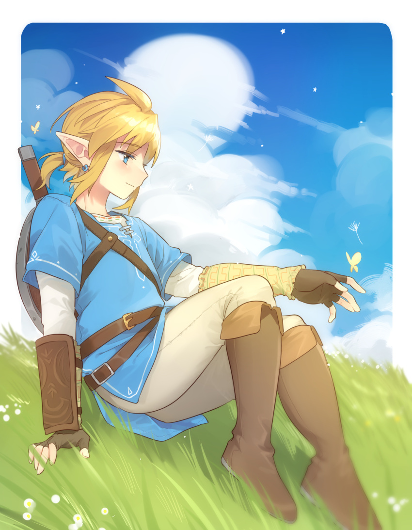 1boy bangs blonde_hair blue_eyes boots border brown_footwear brown_gloves brown_pants bug butterfly clouds day earrings fingerless_gloves from_side gloves grass highres jewelry knee_boots link medium_hair outdoors pants pointy_ears shield shiny shiny_hair sitting the_legend_of_zelda the_legend_of_zelda:_breath_of_the_wild ttanuu. weapon white_border