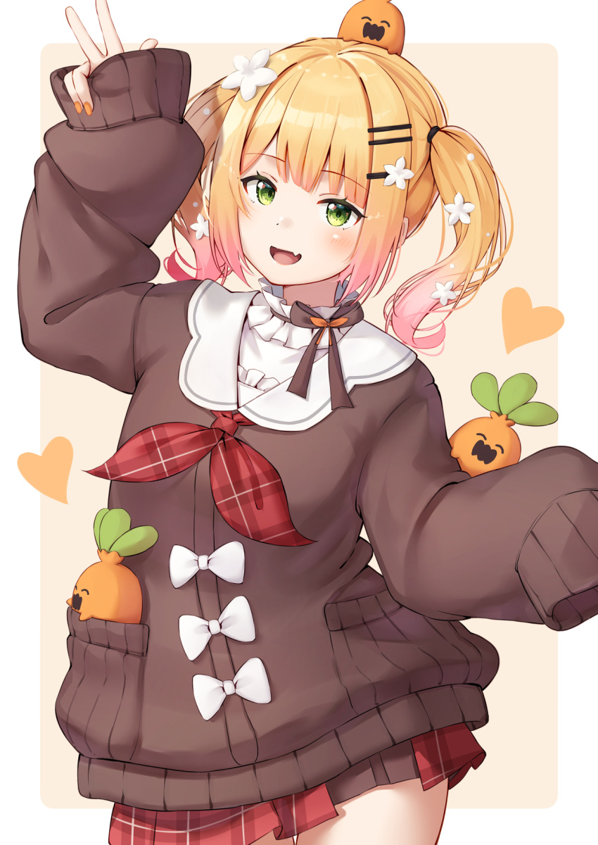 1girl :d arm_up bangs blonde_hair blush bow brown_sweater commentary_request cowboy_shot eyebrows_visible_through_hair fang flower gradient_hair green_eyes hair_flower hair_ornament hairclip highres hololive long_sleeves looking_at_viewer miniskirt momosuzu_nene multicolored_hair nail_polish neckerchief nekko_(momosuzu_nene) nyan_(reinyan_007) open_mouth orange_nails pink_hair plaid plaid_neckwear plaid_skirt red_neckwear red_skirt short_hair simple_background skin_fang skirt sleeves_past_fingers sleeves_past_wrists smile solo standing sweater twintails v virtual_youtuber white_bow white_flower