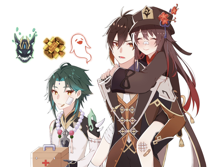 1girl 2boys :| absurdres arm_guards arm_tattoo armor asymmetrical_clothes bandages bandaid bandaid_on_cheek bandaid_on_face bandaid_on_leg bandaid_on_nose bangs bead_necklace beads black_hair black_nails black_shorts blush brown_hair carrying chinese_clothes closed_eyes closed_mouth coat coattails collared_coat collared_shirt colored_tips cowboy_shot detached_sleeves diamond-shaped_pupils diamond_(shape) earrings eyebrows_visible_through_hair eyeliner eyeshadow face-to-face facial_mark fangs first_aid_kit flower forehead_mark formal genshin_impact ghost gradient_hair green_hair hair_between_eyes hair_tie hands_on_another's_shoulders hat hat_flower hat_ornament highres holding hu_tao_(genshin_impact) hug hug_from_behind injury jacket jewelry long_hair long_pants long_sleeves looking_at_viewer lower_teeth makeup mask multicolored_hair multiple_boys necklace necktie open_mouth orange_hair pants parted_bangs piggyback plum_blossoms ponytail porkpie_hat red_eyeshadow red_flower red_shirt shadow shirt short_hair short_hair_with_long_locks shorts shoulder_armor shoulder_pads shoulder_spikes sidelocks simple_background single_bare_shoulder single_detached_sleeve single_earring smile socks spikes suit symbol-shaped_pupils tailcoat tassel tassel_earrings tattoo twintails two-tone_hair very_long_hair vest white_background white_legwear xhrp7772 xiao_(genshin_impact) yellow_eyes zhongli_(genshin_impact)